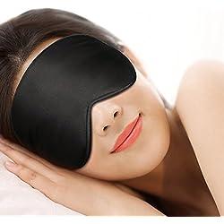Antifaz para dormir,Gritin 100% Anti-Luz Opaco Cómoda Agradable para la piel Tela de seda natural puro y puros de algodón relleno Antifaces Máscara para Dormir con tapón de oído y ajustable correa-negro