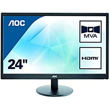 "AOC 2436Vw 24/"" Full HD Widescreen LCD Monitor w//Stand /& Power Cord"