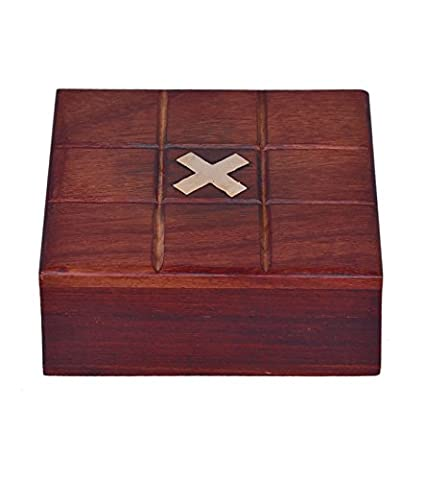 Purpledip Tic-Tac-Toe Handmade Collectible Game Set: Made Of Wood And Brass For Indoor Recreation
