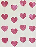 Gifttoys Glitter Paper Heartin Garland - Decorations Items (Pink)