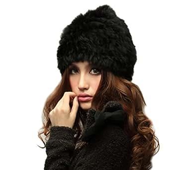 Frauen Wintermütze DDLBiz® 1PC Mode für Frauen Kaninchen-Pelz gestrickter Winter-warme Hut-Kappe (Schwarz)