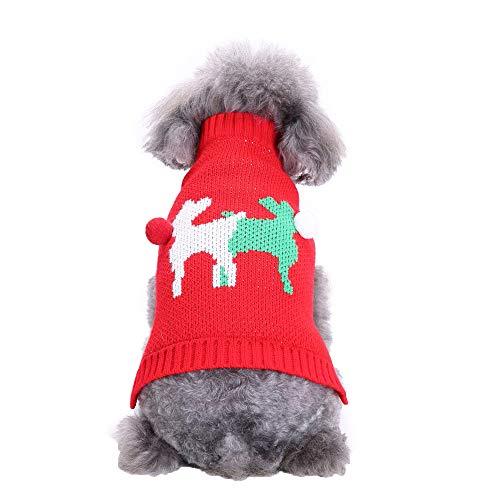 Amphia Haustier Kostüm - Haustier Hund zweifarbig Elch Pullover,Haustier Hund Katze Winter Warm Deer Pullover Mantel Kostüm ()