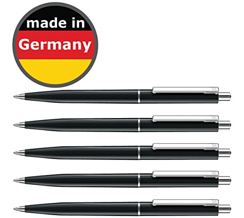 50 Stück Kugelschreiber schwarz allpremio® Qualität – Mine SCHWARZ Strickstärke M – dokumentenecht nach ISO 12757-2 – Sparpack Druckkugelschreiber mit Metall Clip nachfüllbar
