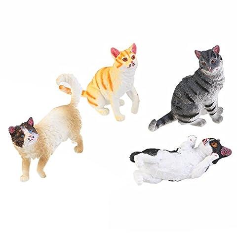 PIXNOR Figurine Animaux Petit Chat Coloré Jouet pour Enfant - 4 pièces