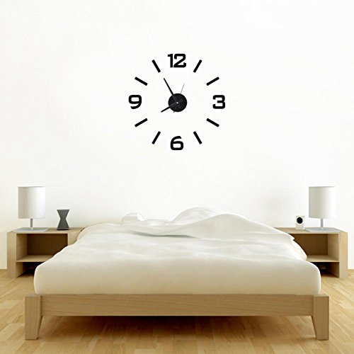 Time It Designer Self Adhesive Innovative DIY (Do It Yourself) Analog Wall Clock - (Black) - CLWC101BL