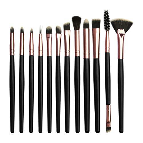 SMILEQ 12 Stück Make-up Lidschatten Pinsel Highlighter Pinsel Make-up Pinsel Set (Schwarz)