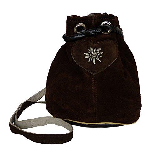 Umhängetasche Wildleder - Trachtentasche Echt Leder - Dirndltasche Beuteltasche Braun