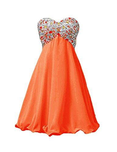 Dresstells, Robe de demoiselle d'honneur Robe de soirée de cocktail mousseline emperlée Orange