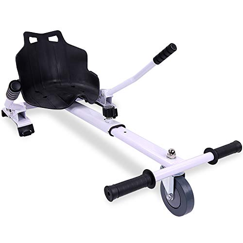 RCB Hoverkart pour Hoverboard Accessoires pour Gyropode Auto-équilibré Gokart Longueur Ajustable Compatibles avec Tous Les Hoverboards - 6,5/8 / 8,5/10 Pouces pour Adultes & Enfants (Blanc)