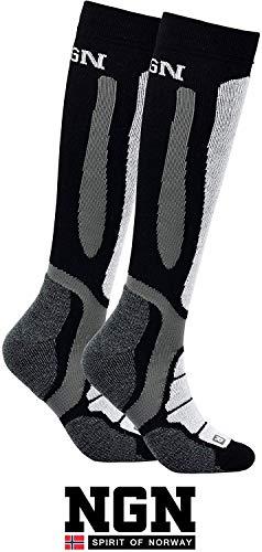 NGN Skisocken Merinowolle Herren & Damen | Ski Socken Winter | Funktionssocken Merino Wolle Schwarz | Warm Thermo Socks | Thermosocken | Wandersocken | Wintersocken | Snowboard Socken | Warme Strümpfe
