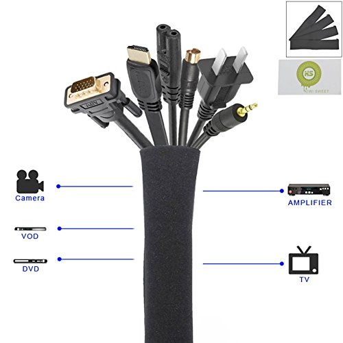 bcony-50-cm-organizador-de-cables-funda-para-cable-neopreno-cremallera-flexible-de-calidadnegro-pack