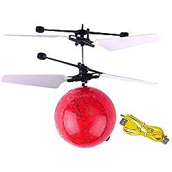 Volar Aviones no tripulados helicóptero Bola de Infrarrojos de inducción con Destello de luz LED de Colores Vuelo del Juguete para los niños (Red de Camuflaje)