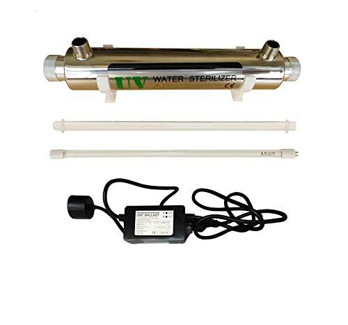 UV Wasser Desinfektion System Edelstahl 304 UV Sterilisator Flussrate 2GPM 16W (Watt) Ultra violettes Licht Filter Wasserfilter mit Einlass/Auslass m?nnlich 1/2 Zoll