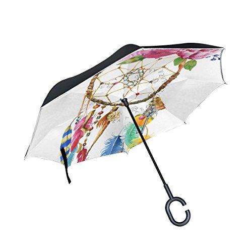 jstel doble capa invertida Atrapasueños paraguas coches Reverse resistente al viento lluvia paraguas para coche al aire libre con asa en forma de C