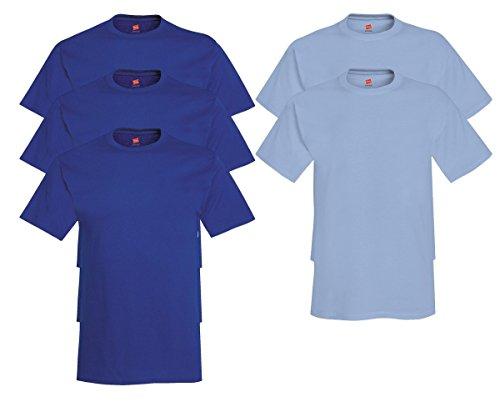 Hanes Men's Tagless Comfortsoft Crewneck T-shirt (Pack of 5) 3 Deep Royal / 2 Light Blue