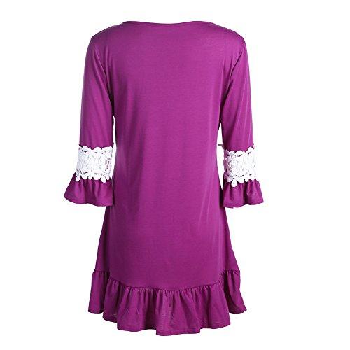 La Cabina Femme Sexy Mini Robe Vintage en Dentelle + Coton à Manches Longues pour Printemps été Automne Violet