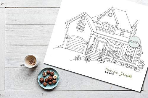 Haus Zeichnung nach Foto & Handlettering | A4 s/w Hausportrait - Haus Foto