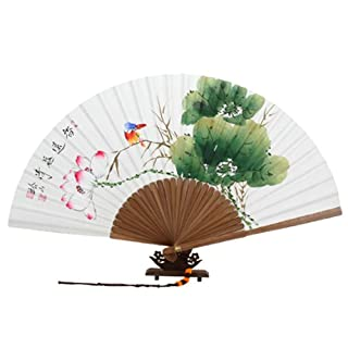 Hand Painted Folding Red Lotus Flower, Green Leaf and Blue Bird Painting Korean Mulberry Rice White Paper Bamboo Art Wooden Asian Oriental Wall Deco Handheld Decorative Fan