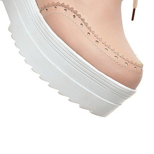 AllhqFashion Femme Lacet Rond à Talon Haut Couleur Unie Chaussures Légeres Rose