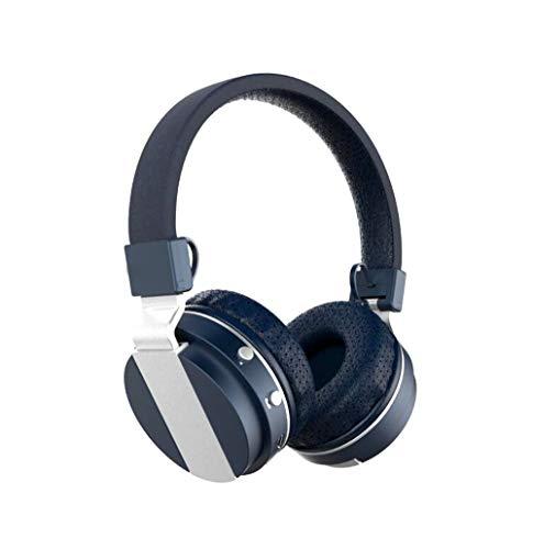 Faltbare über Ohr Bluetooth 4.0 Wireless Stereo Kopfhörer Hands Free Music Player Support TF Card mit UKW-Radio, eingebautem Mikrofon und 3,5mm Audio,Blue