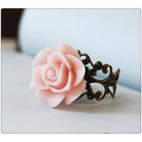 Morbido rosa, Anello, Dusty Rosa, Regolabile, in stile vittoriano in ottone anticato filigrana, stile Shabby Chic, Anello Da Cocktail