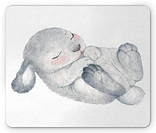 Rabbit Mouse Pad, Watercolor Sketch of Sleeping Single White Healthy Looking Easter Bunny, Standard Size Rectangle Non-Slip Rubber Mousepad, Pale Sage Green Rose -