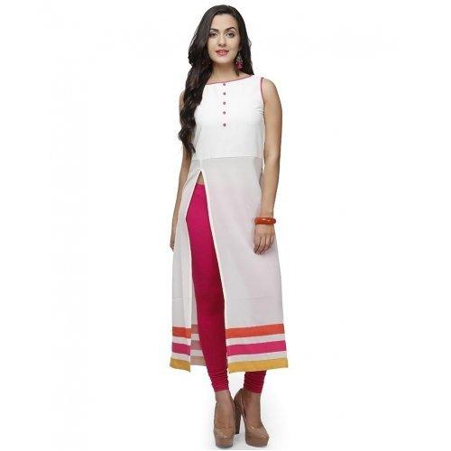 Rensil Women's Cotton Kurti (White_Free Size)