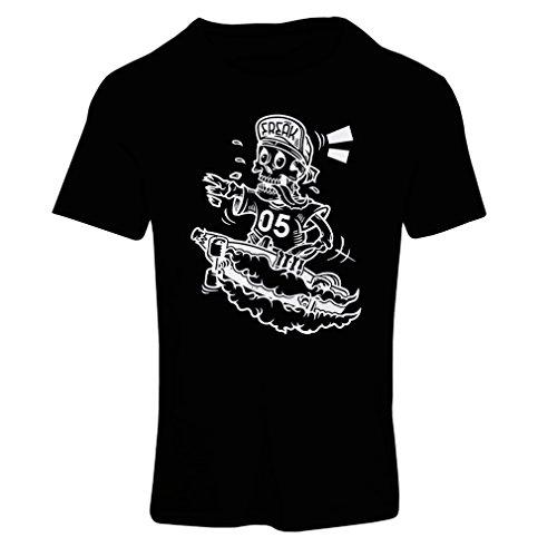 Frauen T-Shirt Der Schädel Skater, Skate-Ausrüstung, Skateboarder, Street Urban Clothing, coole Geschenke Idee (XX-Large Schwarz - Einfache Last-minute-halloween-outfits