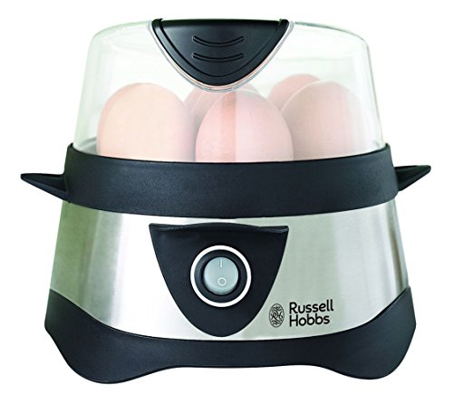 eierkocher fuer 3 eier Russell Hobbs 14048-56 Eierkocher Cook@Home, 1-7 gekochte Eier, 3 gedämpfte Eier, 365 Watt, Edelstahl/schwarz