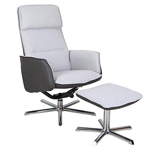 Relaxsessel RENO Fernsehsessel TV Sessel mit Hocker, inkl. Liegefunktion, Stoffbezug in grau, Wildlederimitat in schwarz