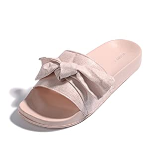 Women Bow Sliders Ladies Elegent Slippers Flat Wide Fitting Sandals for Girls Outdoor/Indoor Size 3-8 Pink