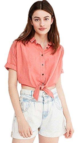 Sexy Kurzarm Knopfleiste Vorne Schnürung Vorne Bluse Hemd Shirt Kurze Crop Oberteil Top Rosa Rosa
