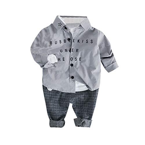 JUTOO 2 Stücke Set Kleinkind Kinder Baby Jungen Gentleman Brief T-Shirt + Plaid Hosen Hosen Outfits Set (Grau,100/12)