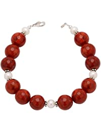 Armband aus Koralle Schaumkoralle & Perlen Süßwasserperlen & 925er Silber Damen