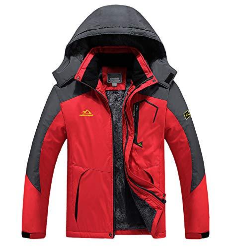 KEFITEVD Skijacke Herren Wasserdicht Atmungsaktiv Snowboardjacke Winter Warm Ski Jacke Herrenjacke Gefüttert Winterparka Snowboard Fleece Jacke mit Kapuze Rot XL