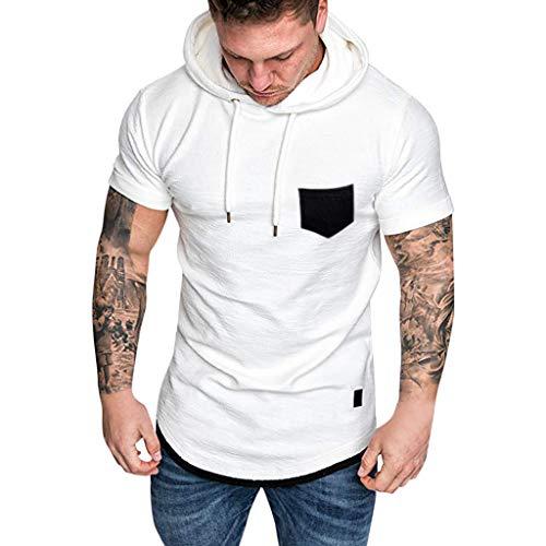 Cap Sleeve Shirt Öse (WORMENG HArt und Weisemänner nehmen passendes beiläufiges Muster-große Kurze Hülsen-Hoodie-Oberseiten-Bluse ab Casual Sommer)