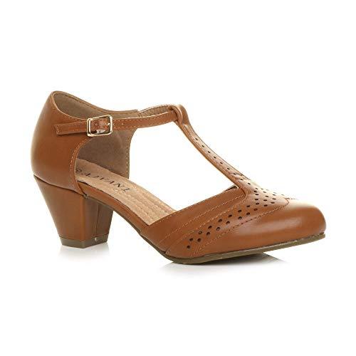 Ajvani Ajvani Damen Mitte Blockabsatz T-Riemen Ausgeschnitten Brogues Pumps Sandalen Größe 5 38