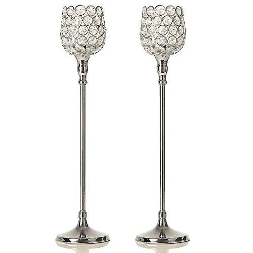 VINCIGANT Silber Kristall Kerzenständer für Hochzeit Esszimmer Dekoration Jahrestag Feier,48cm&48cm Höhe