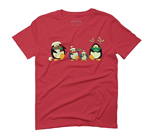 Holiday penguins Men's Graphic T-Shirt - Design By Humans Red