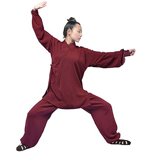 Tai Ausbildung Chi (ZooBoo Tai Chi Uniform Kleidung - Qi Gong Kampfkunst Wing Chun Shaolin Kung Fu Taekwondo Ausbildung Taoismus Dao Kleider Training Bekleidung für Senioren Anfänger Männer Frauen - Hanf (Weinrot, S))