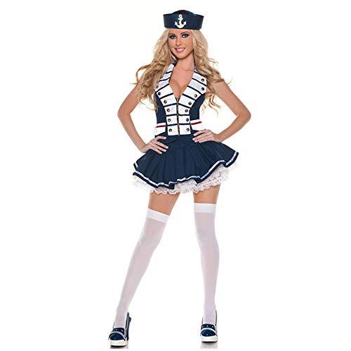 Sexy Adult Kostüm - YCWY Navy Kostüm für Damen, Sexy Adult Kostüm Retro Sailor Marine Navy Kapitän Frau Kleid Weiß-Blau 3 Stück