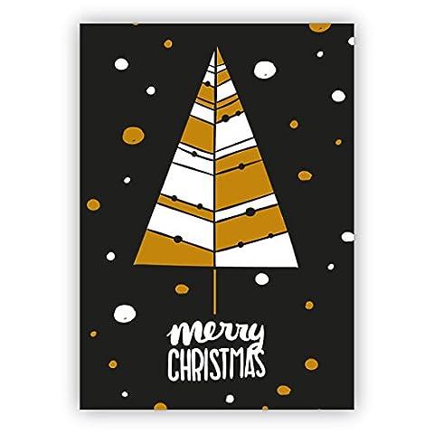 Edle englische, moderne Retro Weihnachtskarte mit Weihnachtsbaum: Merry Christmas