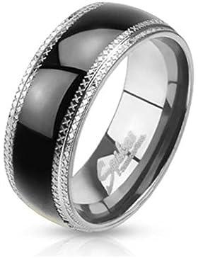 Paula & Fritz® Ring aus Edelstahl Chirurgenstahl 316L schwarzer Streifen und geätzter Rand verfügbare Ringgrößen...