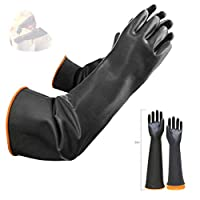 """Latex Chemical Gloves Resistant Rubber PPE Industrial Safety Work Protective Long Gauntlets Gloves, 22"""" Black Heavy Duty Gloves, Resist Strong Acid, Alkali and Oil 1 Pair (22"""")"""