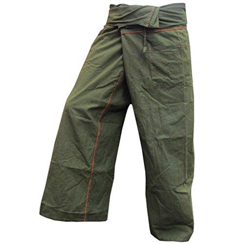 PANASIAM Fisherman Pants Stripe-Design, oliven grün, XL -