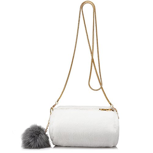 Schultertaschen Cross-Body-Tasche Umhängetasche Schultertasche Damen Handtaschen damen taschen crossbody Leichtes weiches künstliches Kaninchenpelz Weiß