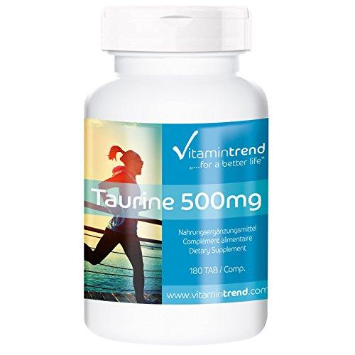 Taurine 500mg - 180 comprimés - avec vitamine C - acide aminé soufré - flacon avantageux pour 6 mois - végétarien