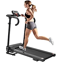 Cartkningts Treadmill Folding Running Machine Electric Motorized Treadmill for Home Exercise with 3 Level Incline, LED Display with Heart Rate Monitor (T07B)