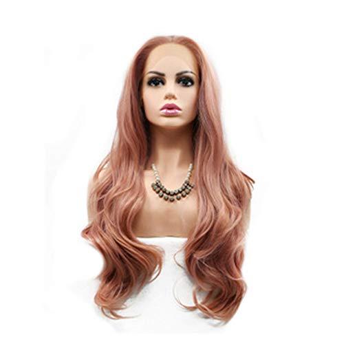 WFHhsxfh Perücke weibliche Rose Gold lockiges Haar Front Lace Chemiefaser Hood Lady Perücke Lady Perücke Lace Hood