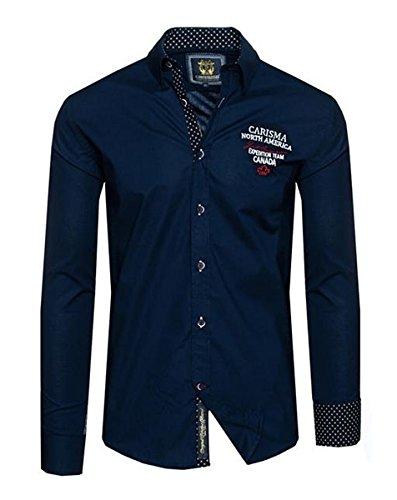 Brandneu !!! Designer Hemd von CARISMA in 2 Farben mit Stickerei CRM8341 Navy